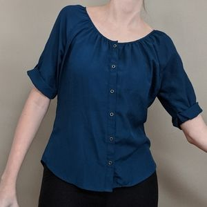 Express Blue Button Up Blouse